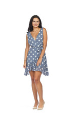 Papillon Polka dot ruffle wrap dress