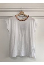 Pan Pan - Pixie white top with frayed ribbon neck