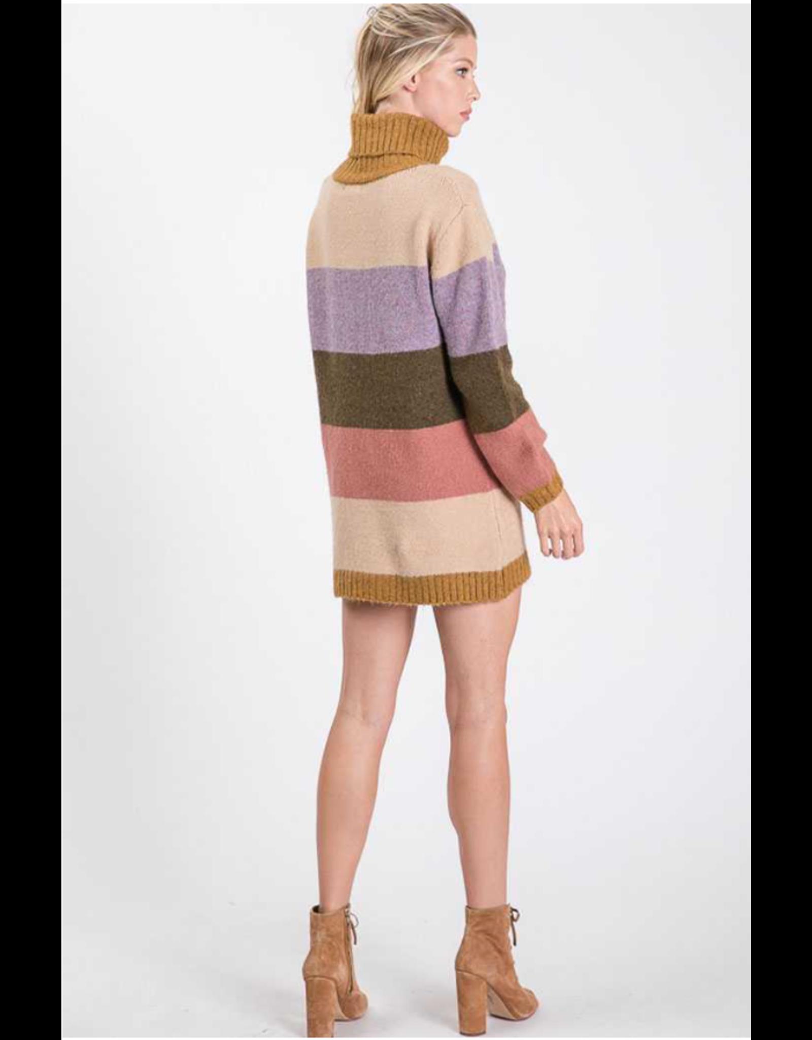 Sonia - Colour block turtleneck sweater