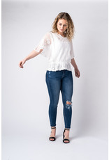 Papillon Floral embroidered blouse with elastic waist