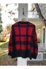 Press Box fit plaid jacquard cardigan