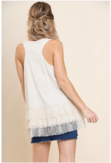 Lettie - sleeveless top with lace trim (3 colours)