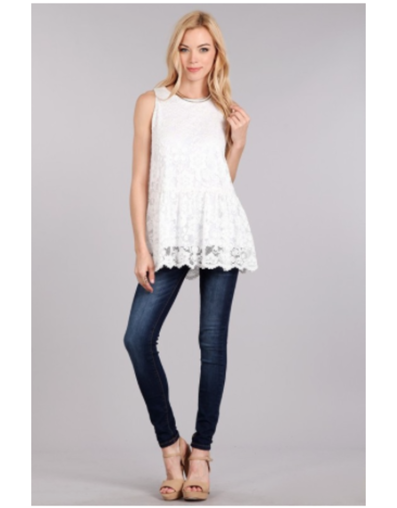Reid - scalloped hem lace top (2 colours)