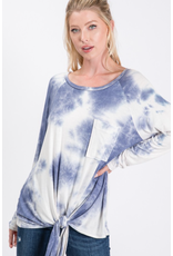 Pixie - Oversized tie dye top with front tie (3 colours)