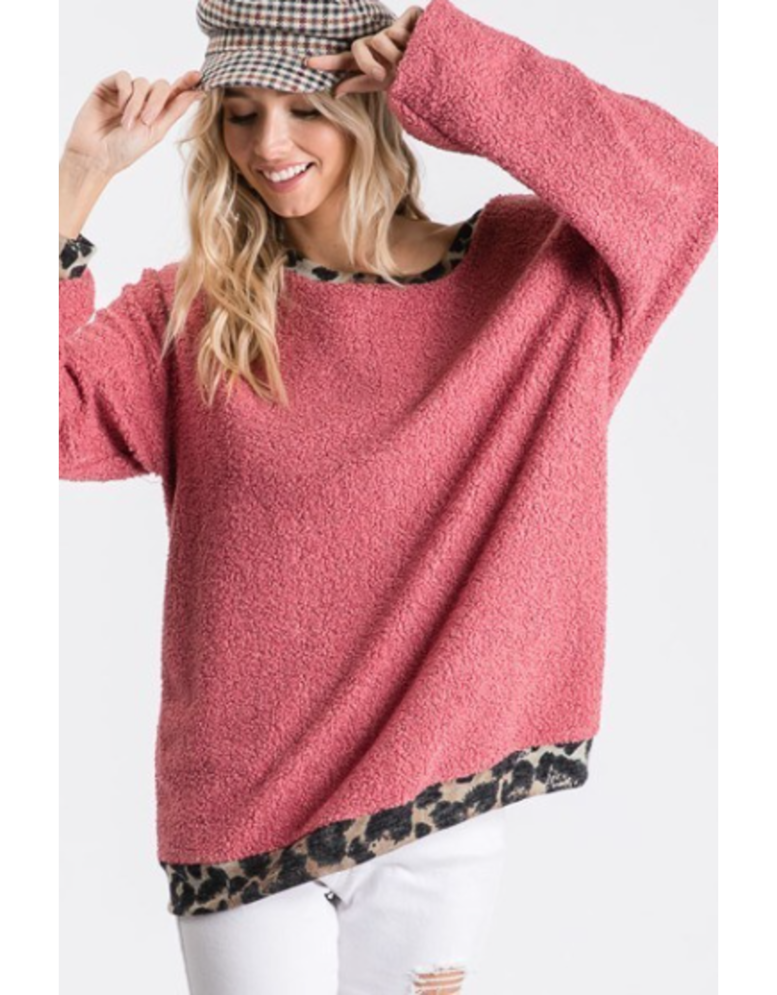 Romy - Popcorn knit top with animal print trim