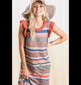 Solaris - Animal stripe dress with ruffle sleeves