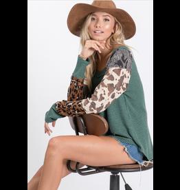 Bree - Mixed print waffle knit top