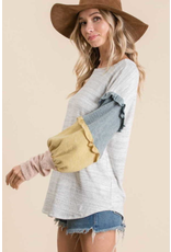 Ember - Jersey knit top with colour block sleeves