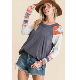 Lennox - Navy top with boho print contrast sleeves