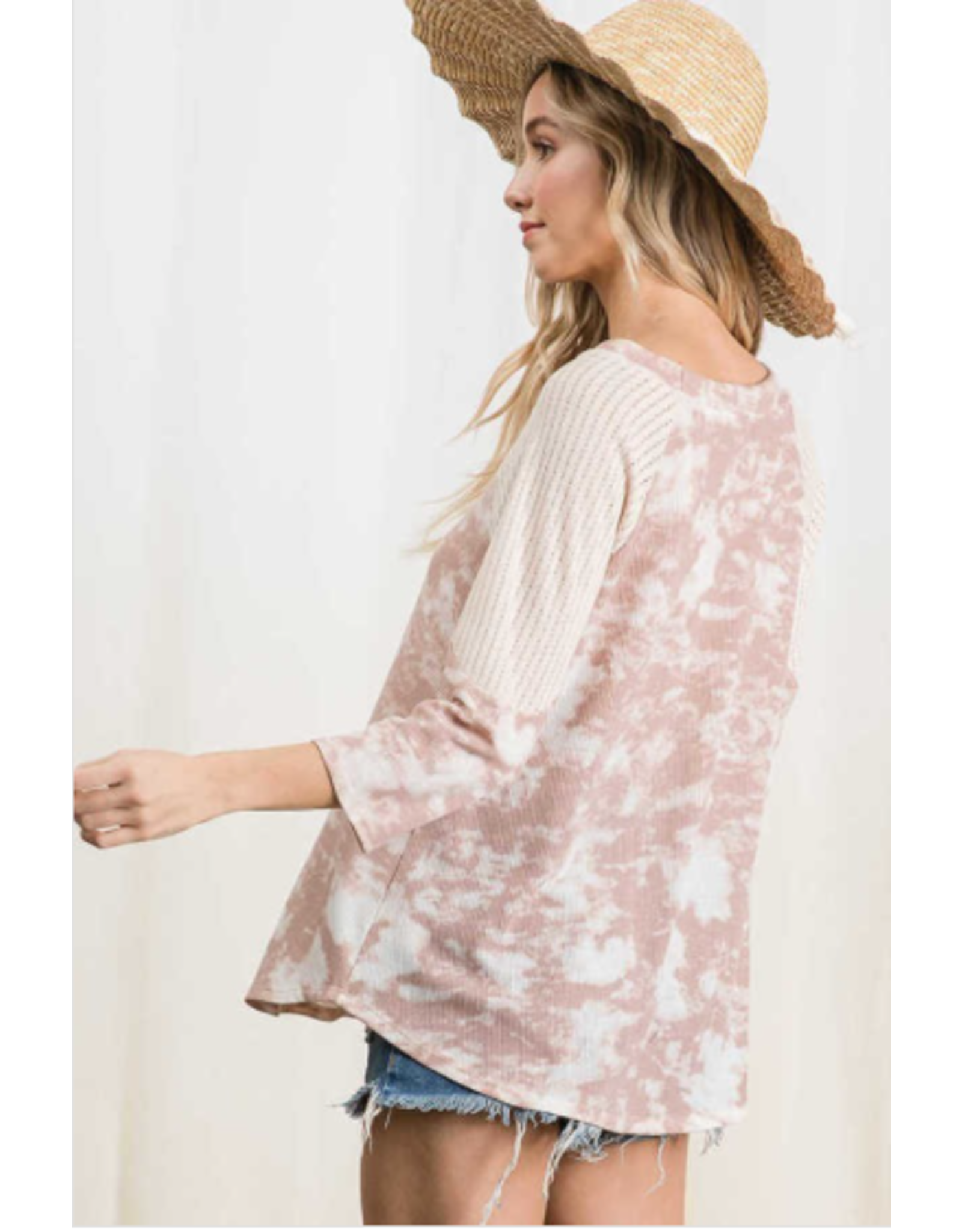 Clover - Tie dye top with contrast sleeves