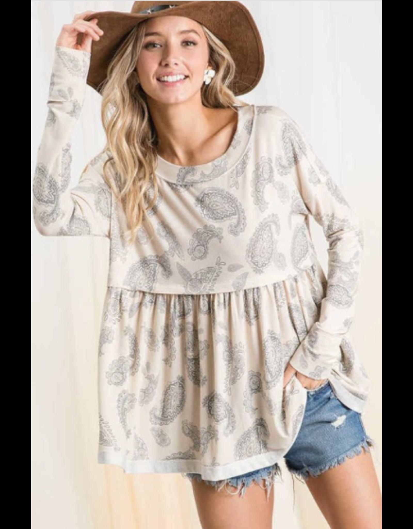 Phoebe - Paisley print babydoll top