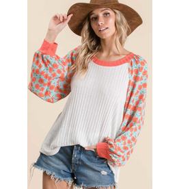 Naomi - Soft knit ribbed top with contrast sleeves