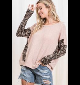 Carli - Brushed knit top with animal print trim