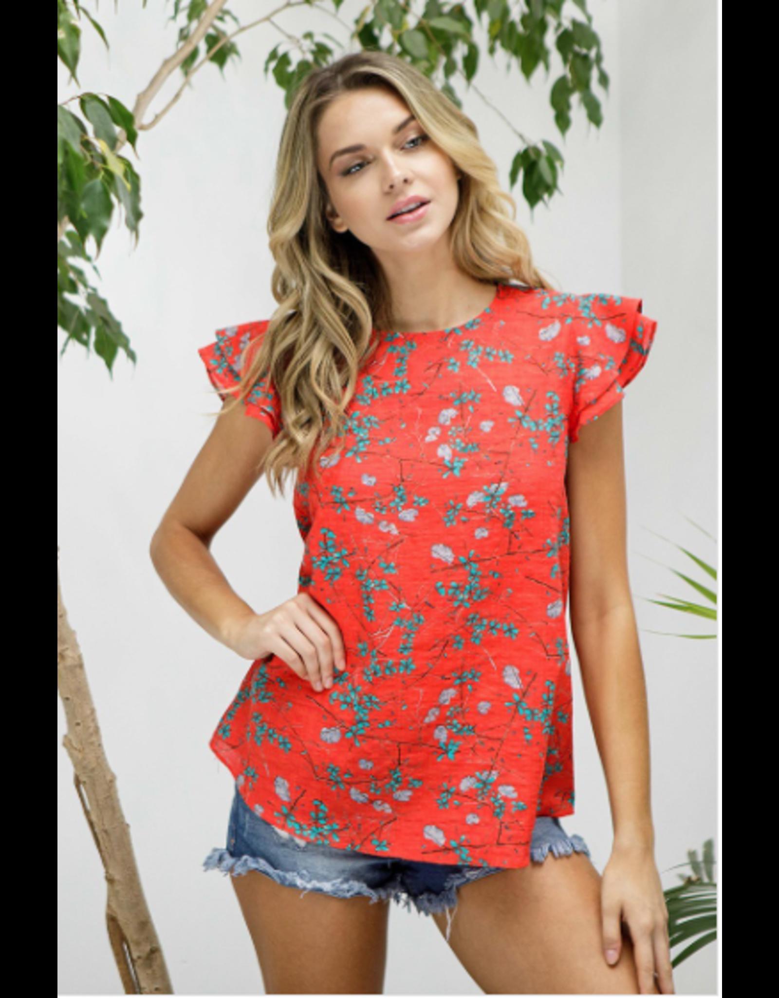 Simone - Flutter sleeve floral print top (2 colours)