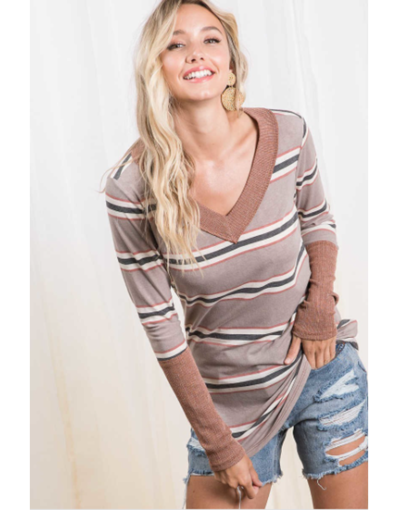 Posie - V neck striped top with contrast cuffs (2 colours)