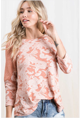 Kellie - Paisley print color block top