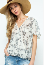 Novah - Floral print chiffon wrap top (2 colours)