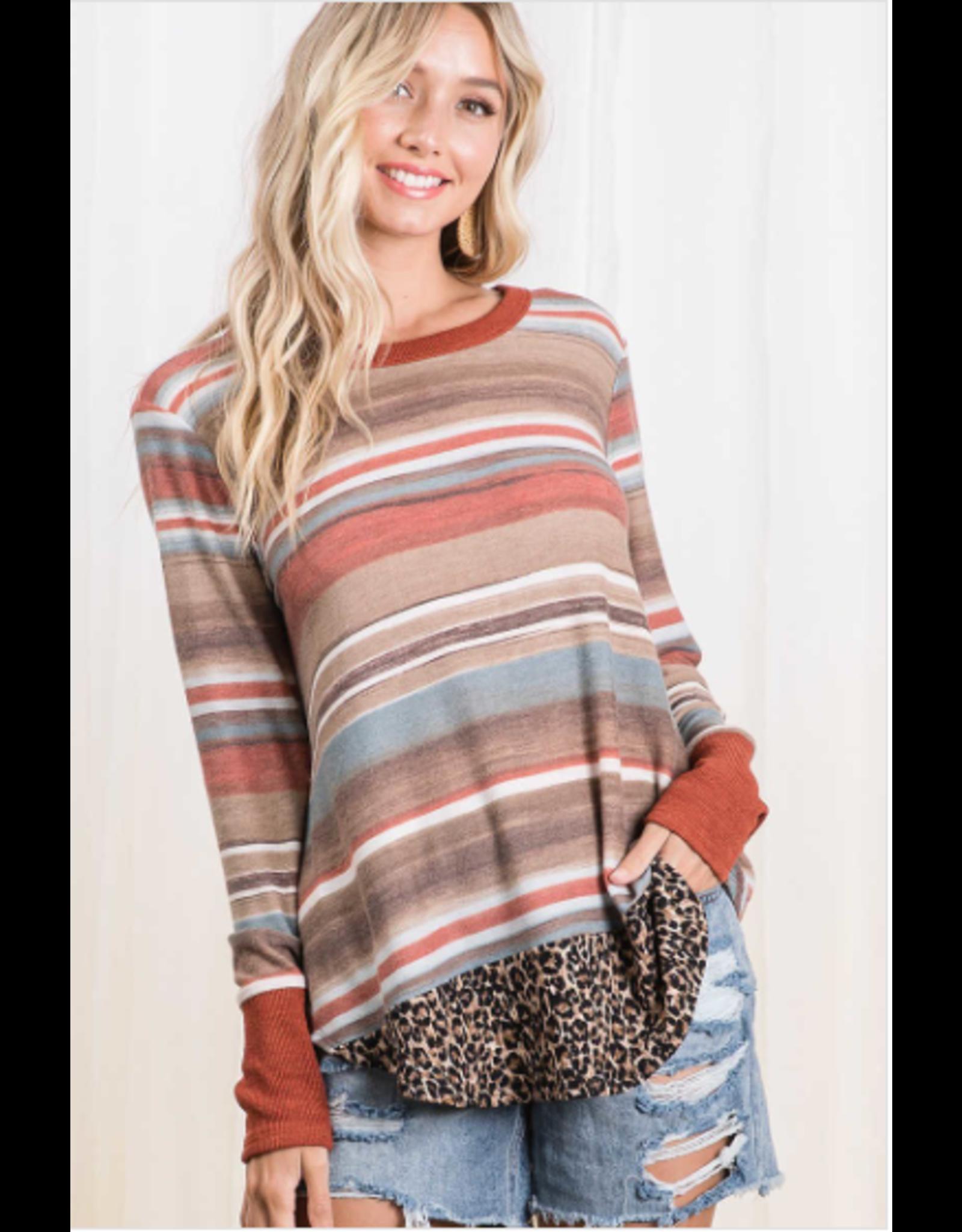 Aubrey - Striped top with animal print hem