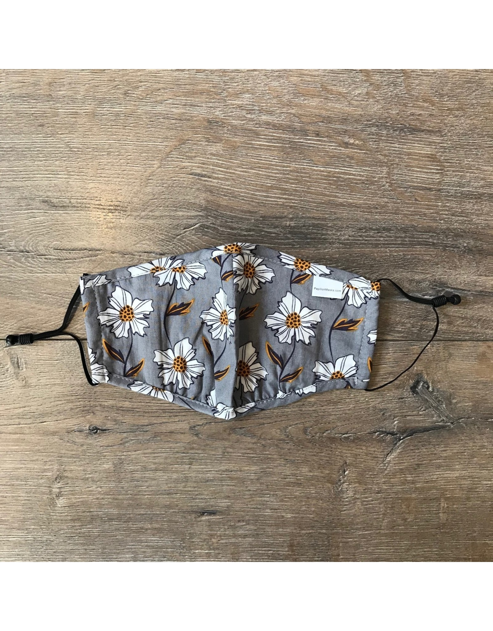 Papillon Papillon - Floral cotton mask (grey with white/yellow floral)