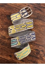 Peruvian belt - charcoal/citron/aqua