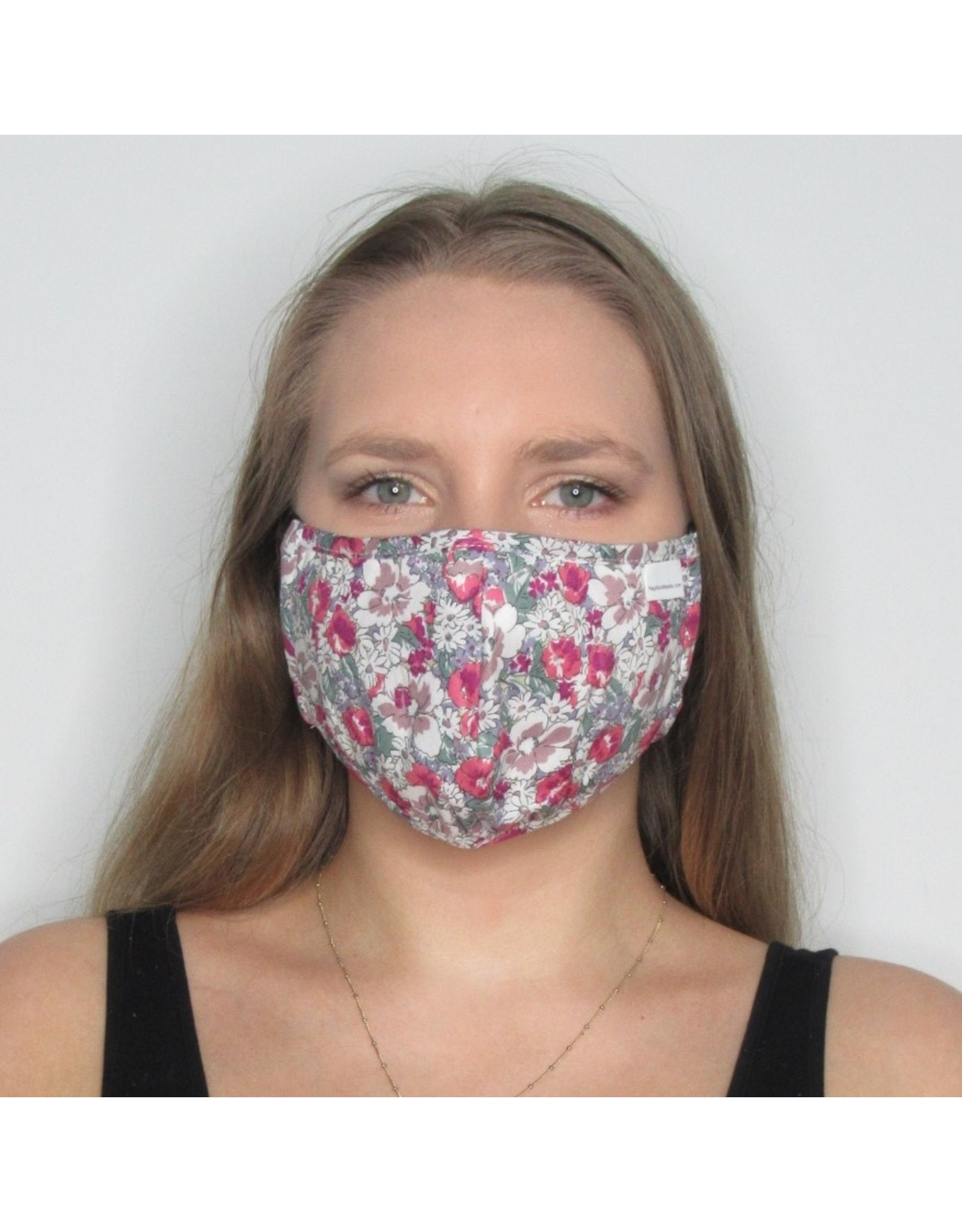 Papillon Papillon - Face mask (grey/fuschia floral)