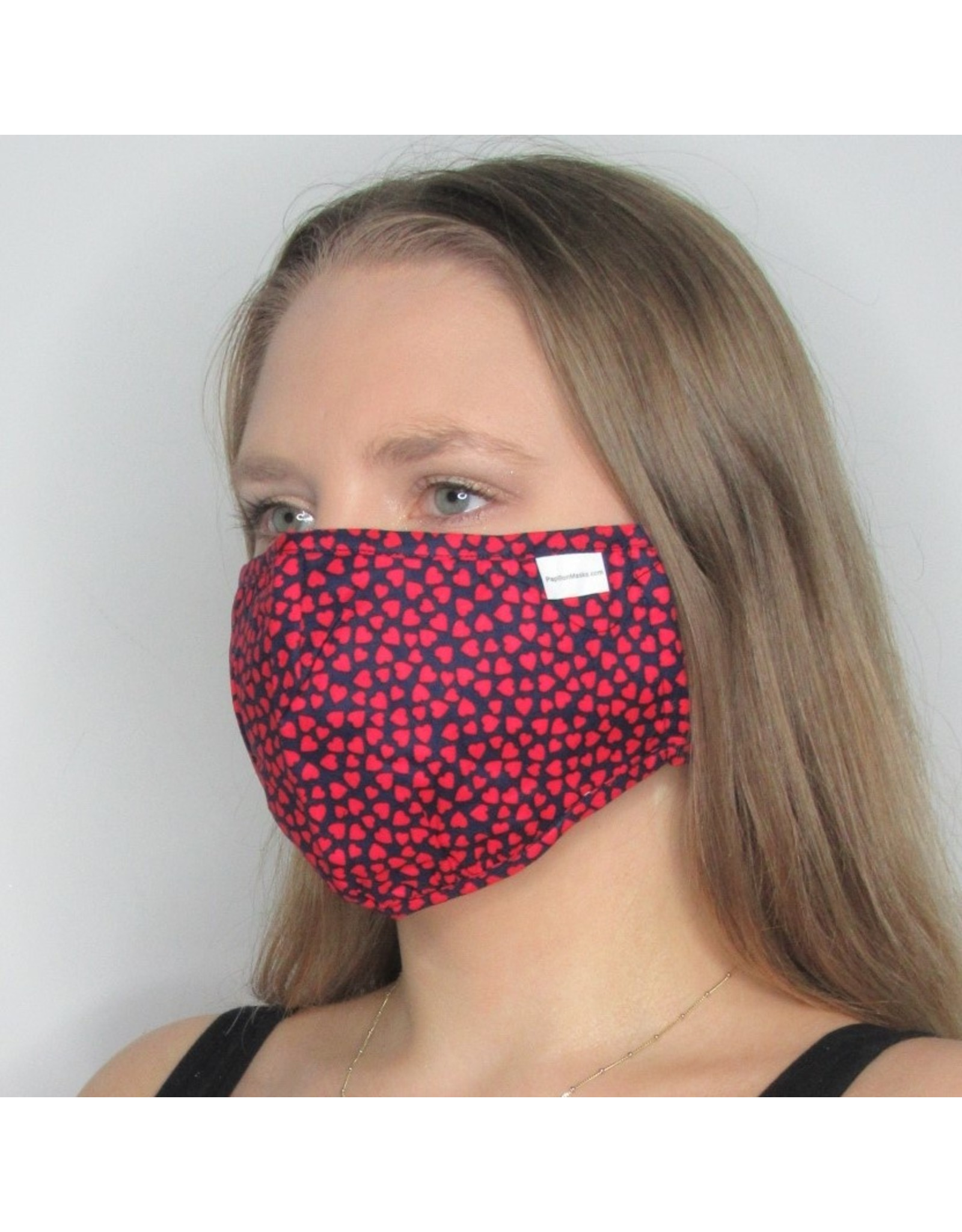 Papillon Papillon - Face mask (red heart print)