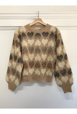 Molly Bracken Molly Bracken - Heart print sweater (tan)