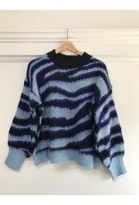 See U Soon See U Soon - Abstract stripe sweater (navy)