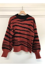 See U Soon See U Soon -  Zebra stripe sweater with balloon sleeve