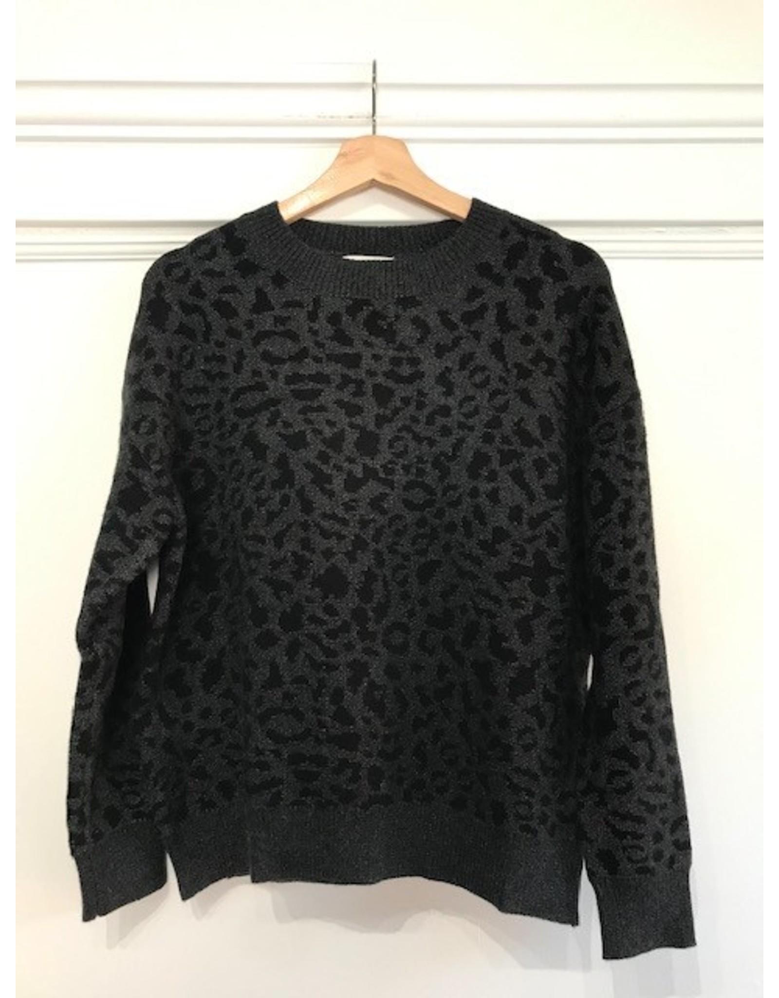 Molly Bracken Molly Bracken - Dark grey and black leopard sweater