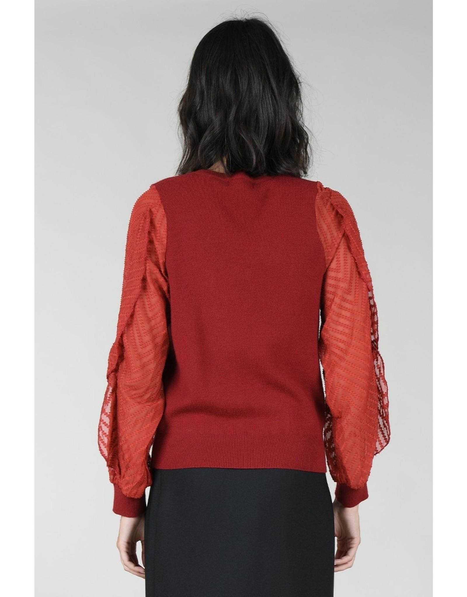 Molly Bracken Molly Bracken - Knit sweater with sheer sleeves (red)