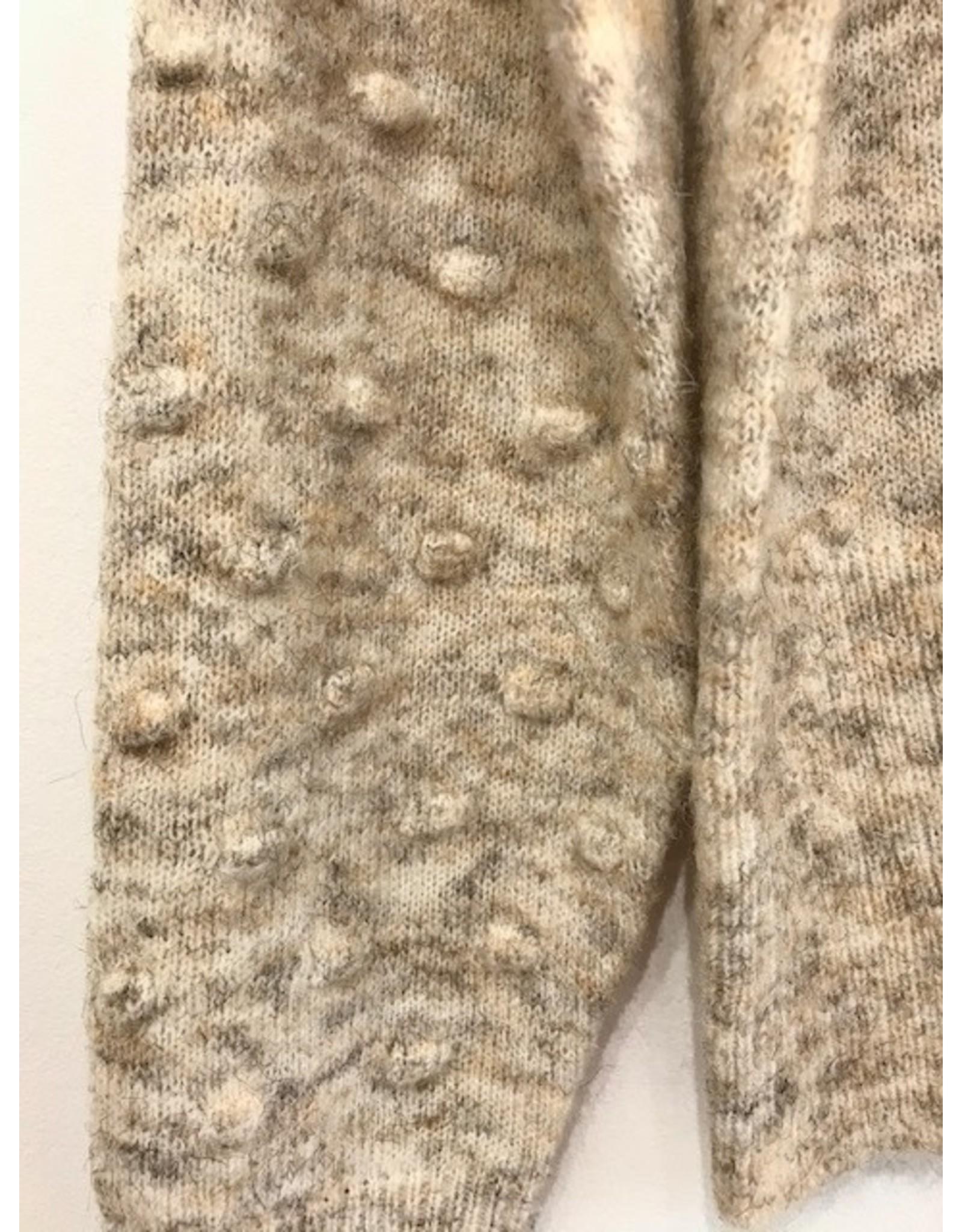 Luna Blue Luna Blue - Mock neck sweater with popcorn sleeve detail (white beach mix)