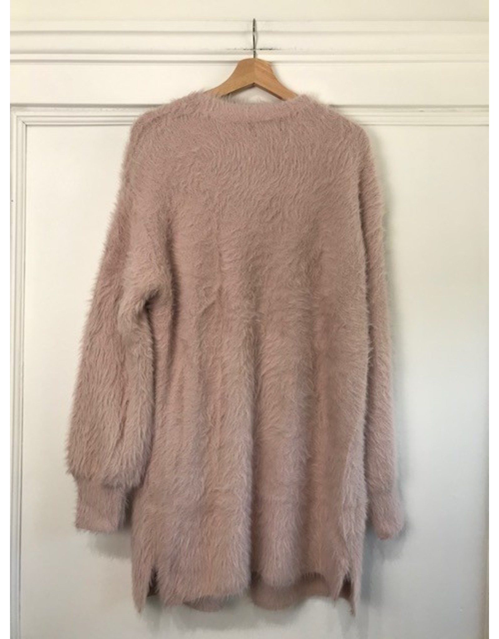 Papillon Papillon - Fuzzy maxi cardigan with pockets (blush)