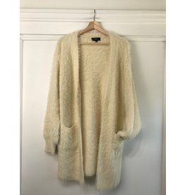 Papillon Papillon - Fuzzy maxi cardigan with pockets (cream)