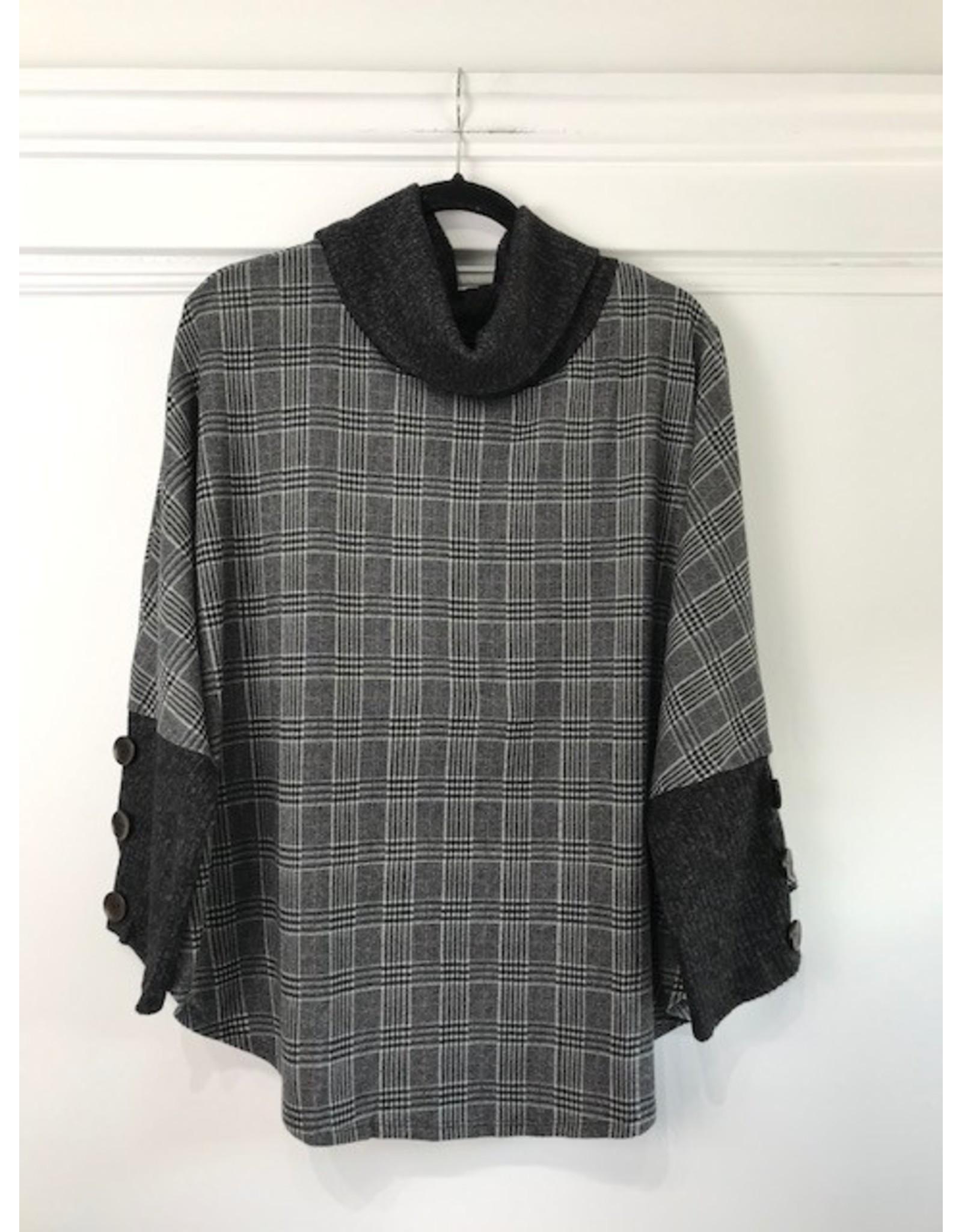 Papillon Papillon - Plaid knit sleeveless poncho