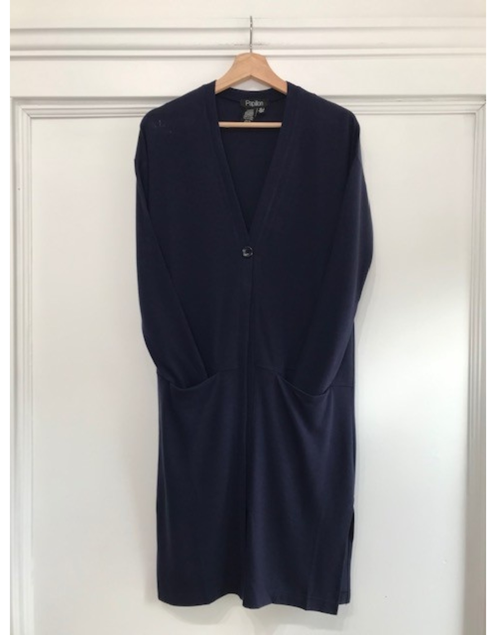 Papillon Papillon - Long cardigan with side slit (navy)