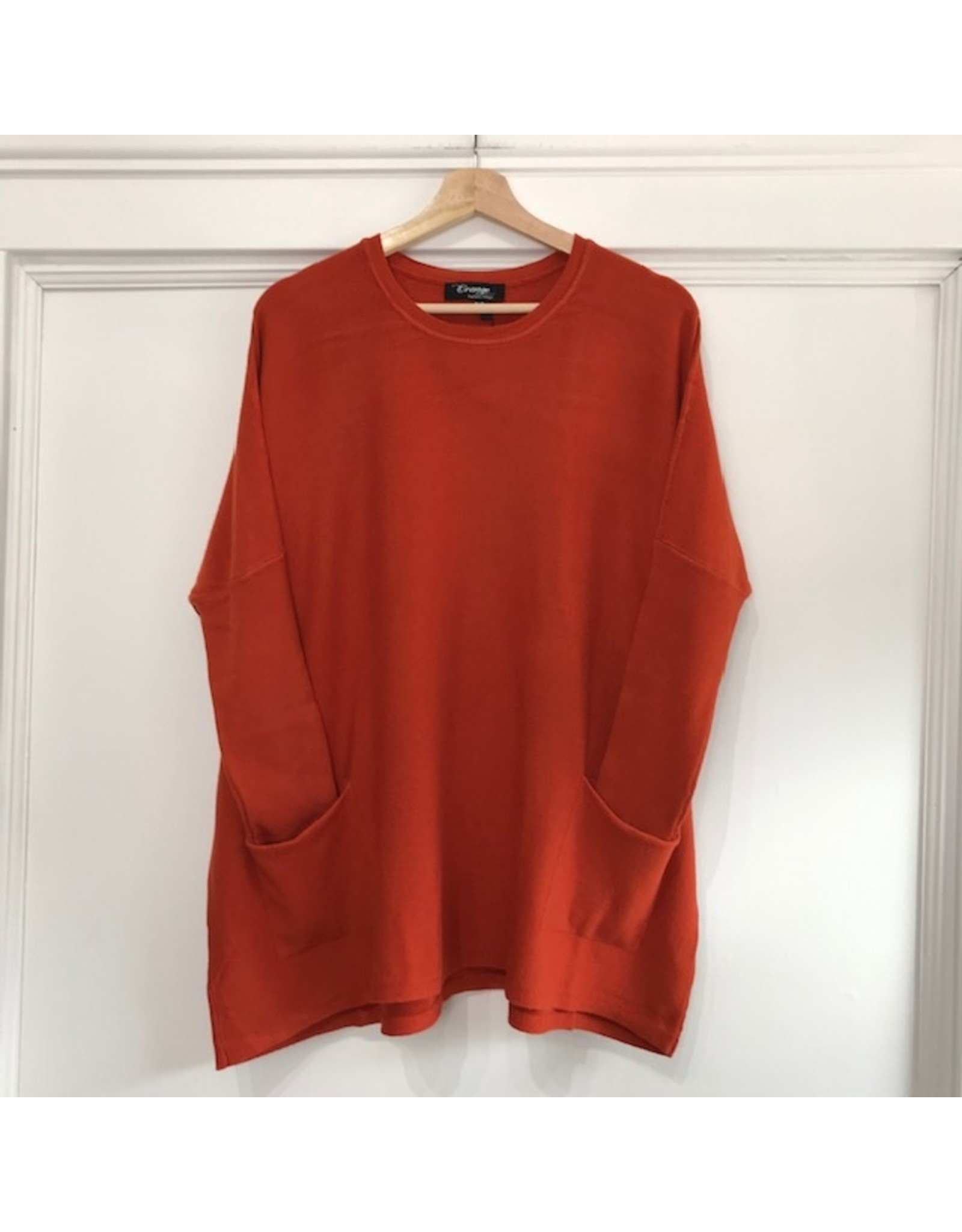 Orange Soft tunic with front pockets