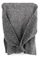 Luna Blue Luna Blue - Mock neck sweater with popcorn sleeve detail (charcoal)