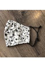 Papillon Papillon - Face mask (black and white floral  print)