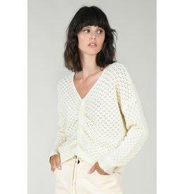 Molly Bracken Molly Bracken - Popcorn knit cinched sweater (ecru)