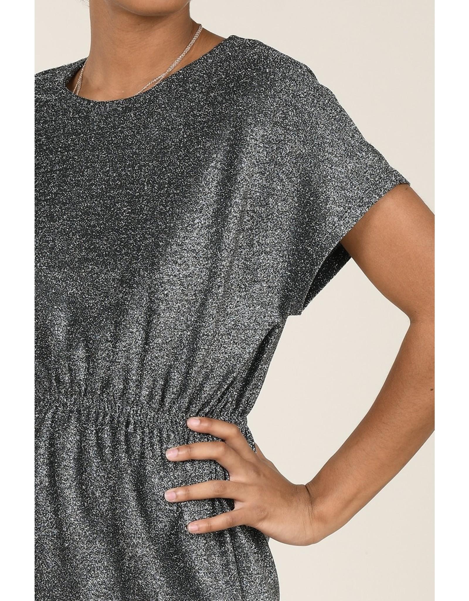 Molly Bracken Molly Bracken - Gunmetal glitter dress with elastic waist