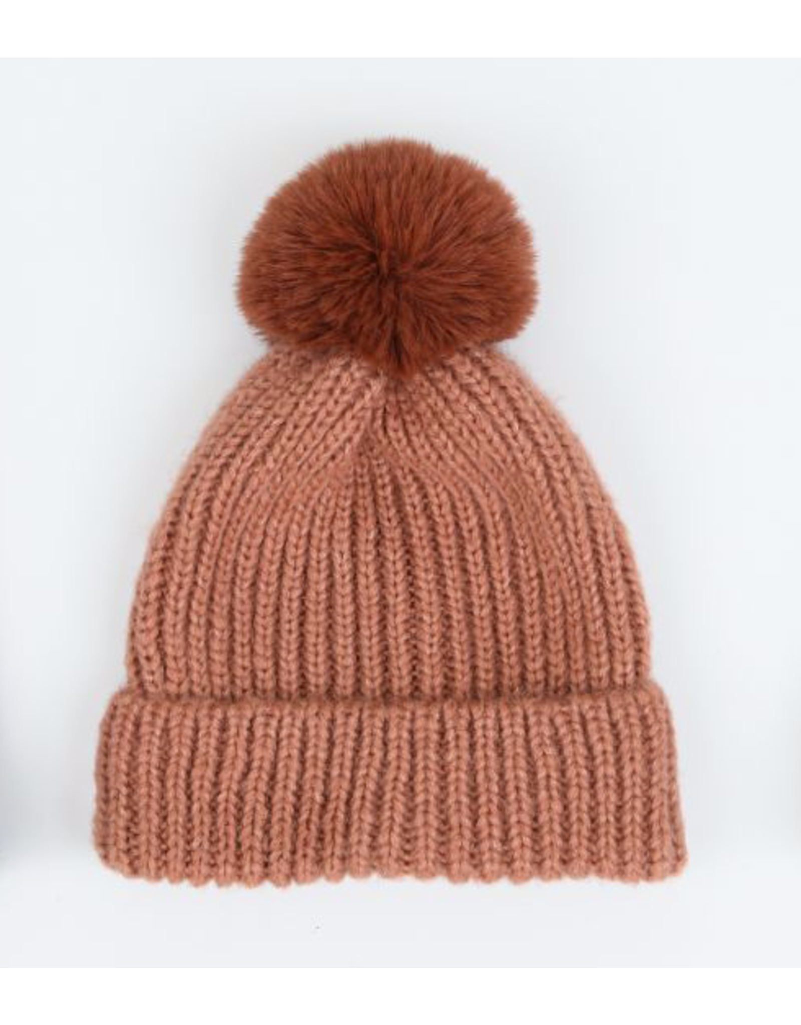 Molly Bracken Molly Bracken -  Cable knit pompom beanie (pink)