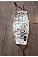 Papillon Papillon - KIDS SIZE - Rainbow print cotton mask (white background)