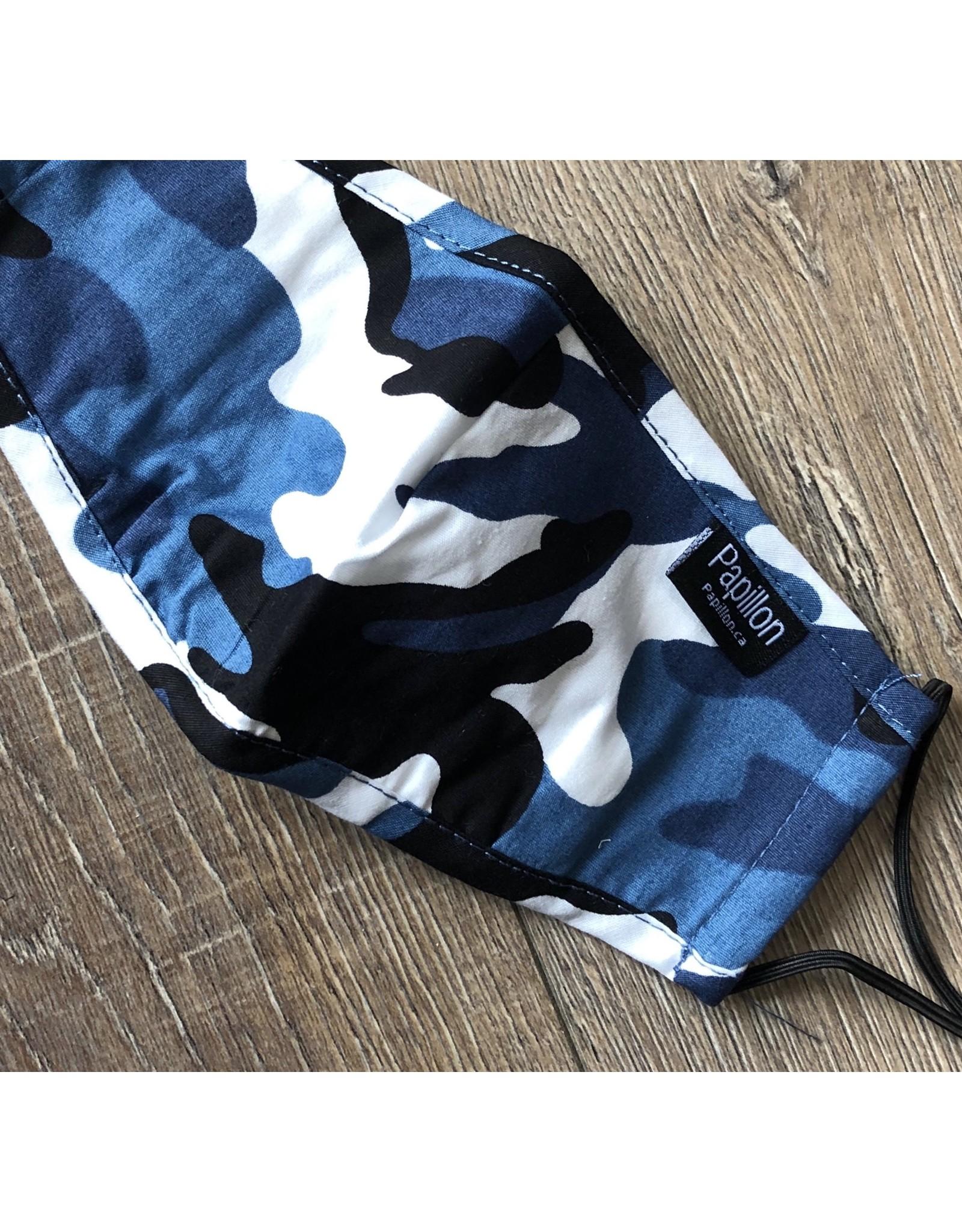 Papillon Papillon - KIDS SIZE - Camo print cotton mask (blue)