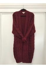 See U Soon See U Soon - Chunky cable knit cardigan (Bordeaux)