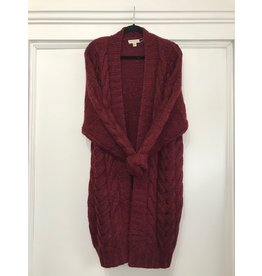 See U Soon See U Soon - Chunky cable knit cardigan (Bordeaux)