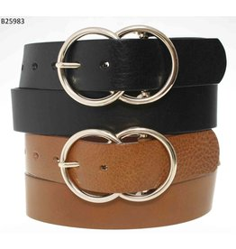 Medike Landes Medike Landes - Marie double ring leather belt (black)