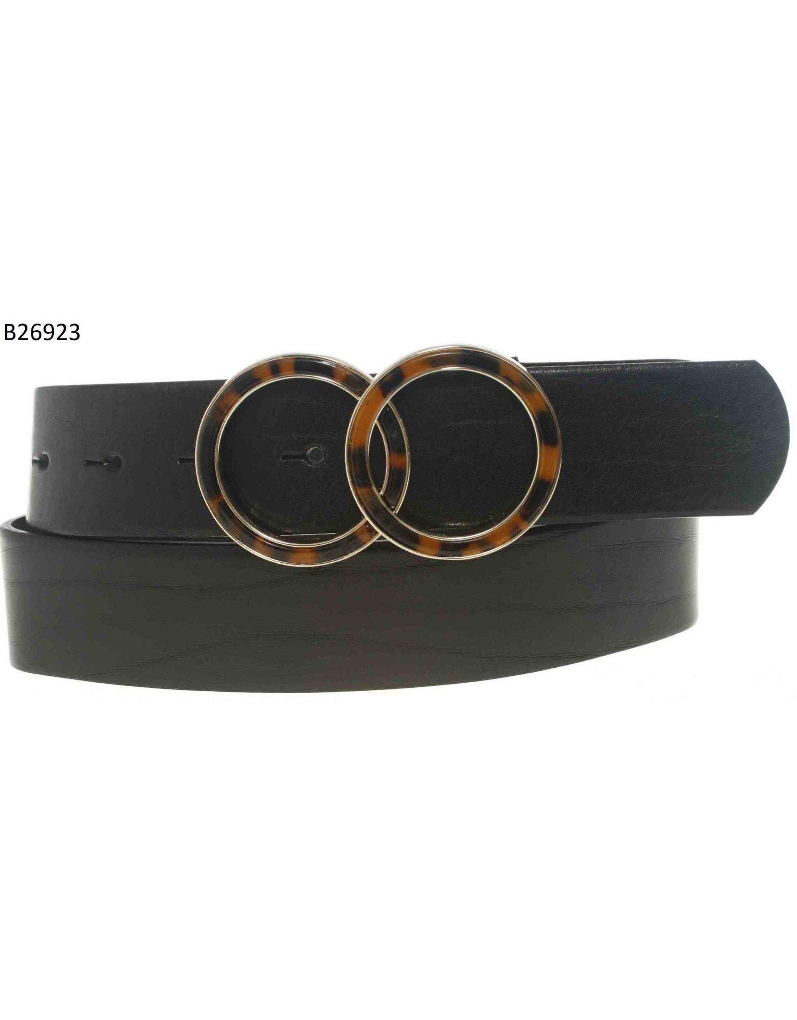 Medike Landes Medike Landes - Portia leather belt with tortoise shell accent (black)