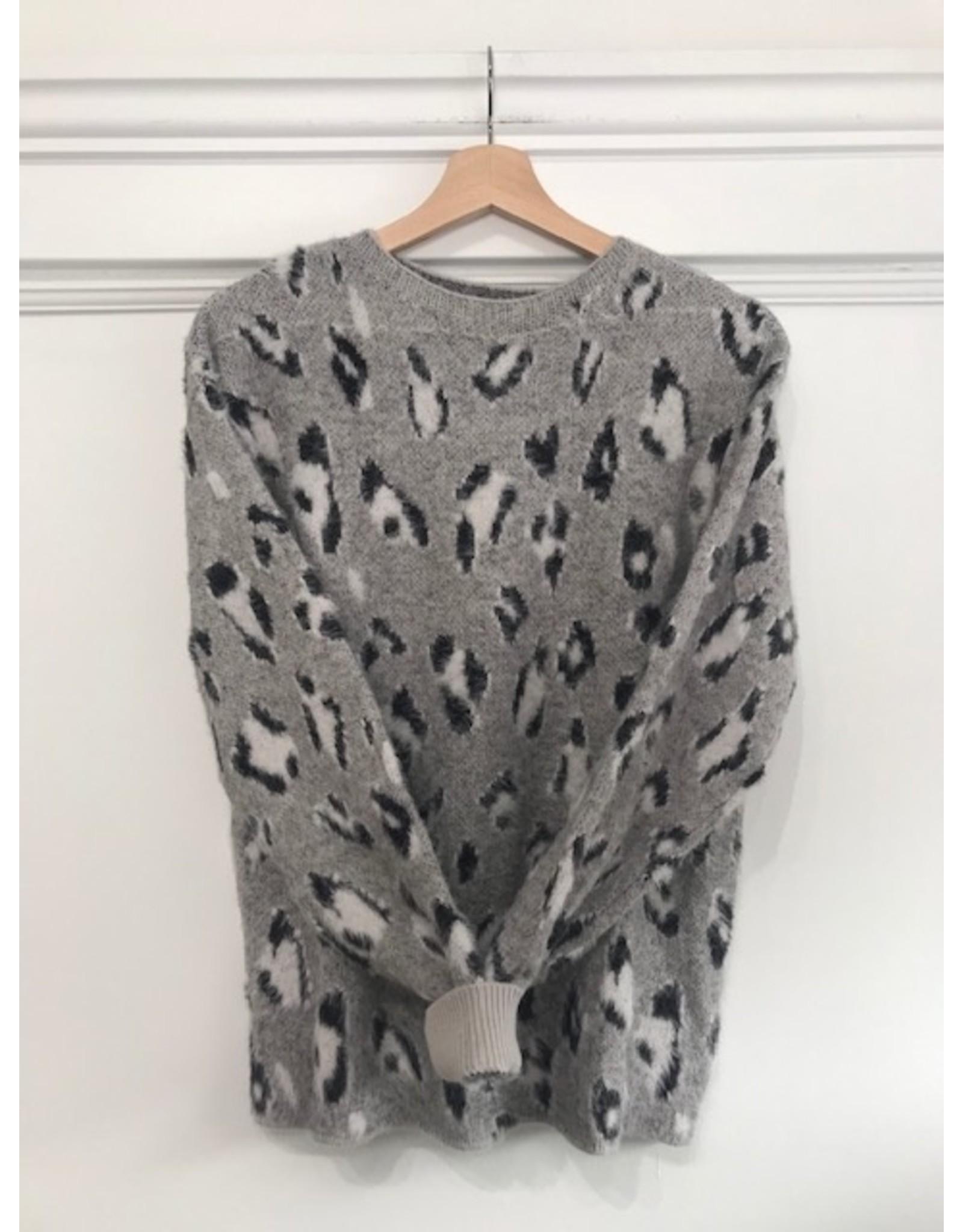 Papillon Papillon - Leopard print eyelash sweater