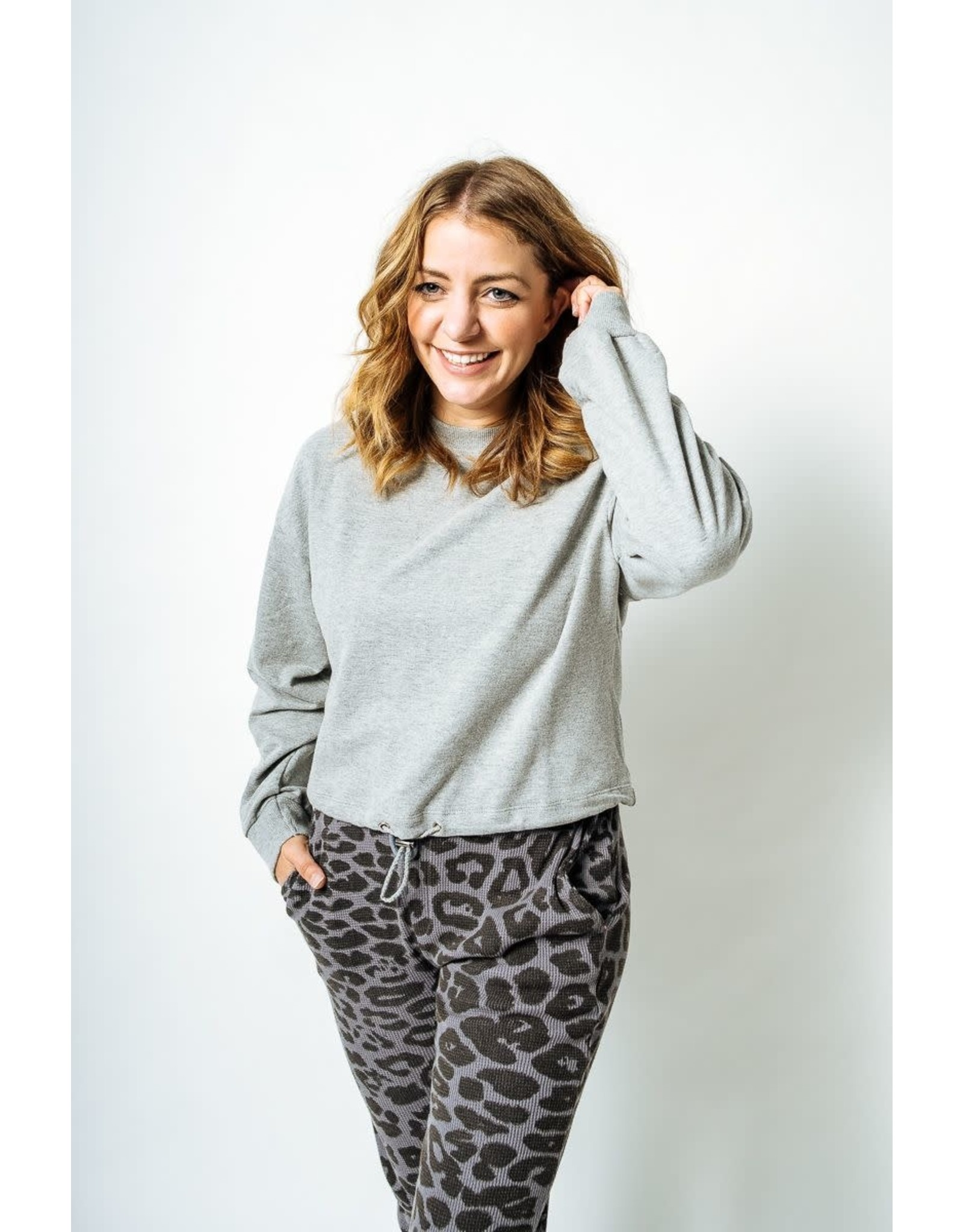 RD Style RD Style - Knit pullover with tie waist (heather grey)